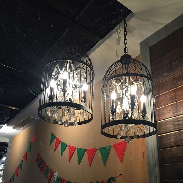 Leisure Club Chinese Chandelier colthing store Boutique window Pendant Lamps Black birdcage Chinese Recreation Club restaurant Chandelier