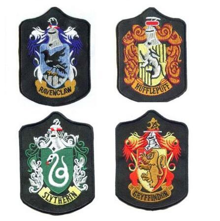 top popular Harry Potter Embroidery Badges Harry Potter Patches Gryffindor Slytherin Ravenclaw Hufflepuff Embroidered Iron On Patches CCA5919 200pcs 2019
