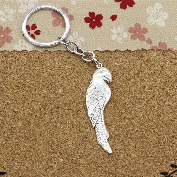 15pcs Fashion Diameter 30mm Metal Key Ring Key Chain Jewelry Antique Silver Plated parrot bird 58*16mm Pendant