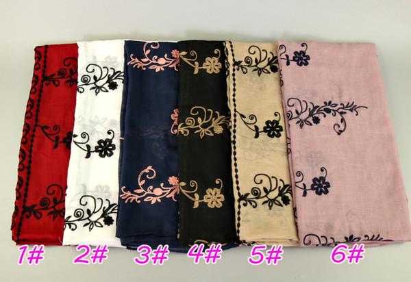 Women fashion embroider floral cotton shawls hijab summer popular wrap head muslim Muffler 6 color scarves/scarf 180*90cm