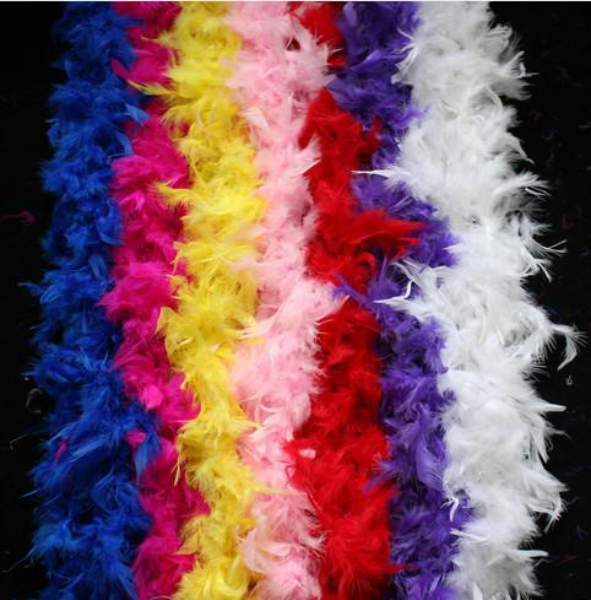 5pcs 2M Turkey Feather Boa Turkey Feather Strip 40g for Wedding Party Flower Decoration