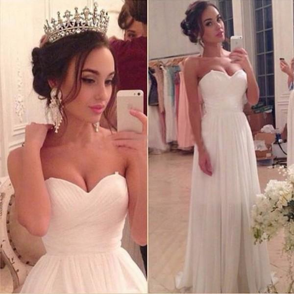 cheap white country style wedding dresses a line sweetheart chiffon Beach Bridal Gowns long open back 2017 wedding reception dress