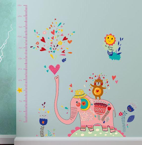 SK9036 Cute Elephant Fountain Height Stickers Nursery Cartoon Vinyl Decals Children's Room Home Decorative Wall Stickers