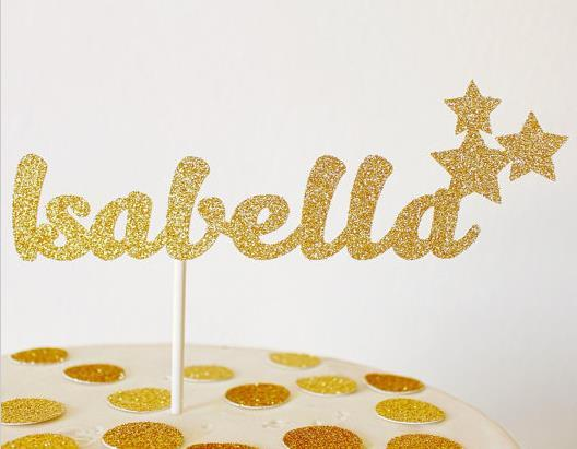 NEW 2017 30PCS Custom Name Twinkle Twinkle little Star Cake Toppers personalized Happy Birthday sweet 16th girls party decorations