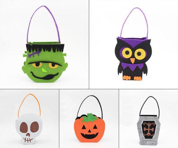 Halloween Geschenke Sack Taschen für Kind Baumwolle große Leinwand Kordelzug Kürbis Eule Schädel Halloween Dekorationen 4 Stil