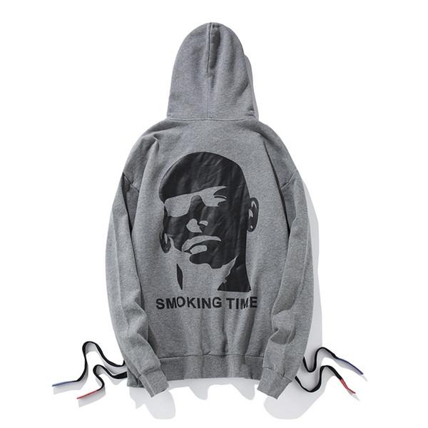 Хип-хоп уличная новая осень мужчины пуловер печатных с капюшоном шнурок Хабар негабаритных случайные свободные высокое качество кофты толстовка