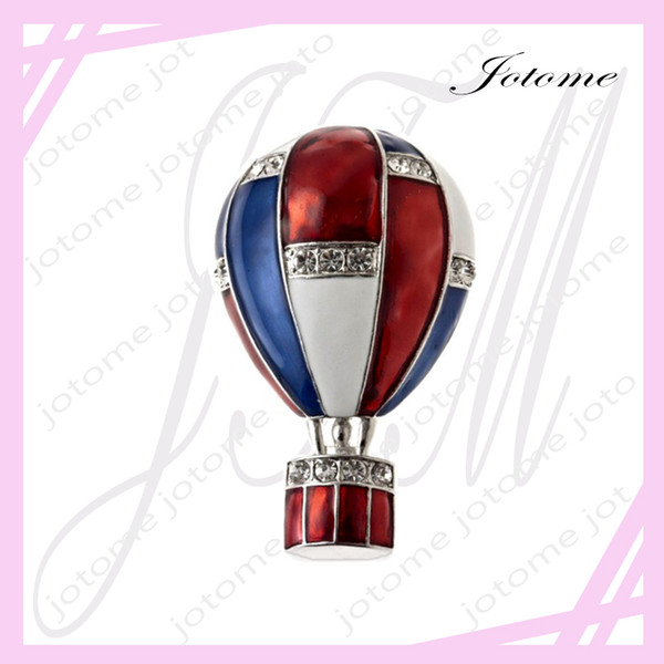 100PCS/Lot 2017 Hot Sale American Flag patriotic hot air balloon Crystal Pin Brooch Usa Flag Clutch Pins For Patriotic