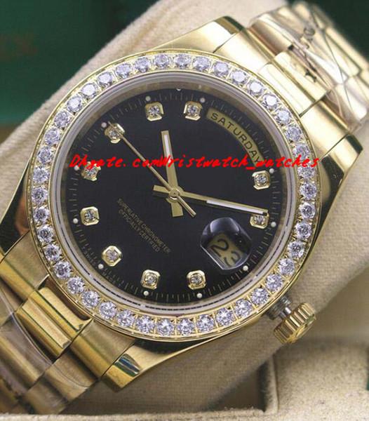Роскошные часы мужские 18k желтое золото черный циферблат Алмаз безель часы 18338 автоматический модный бренд мужские часы Наручные часы