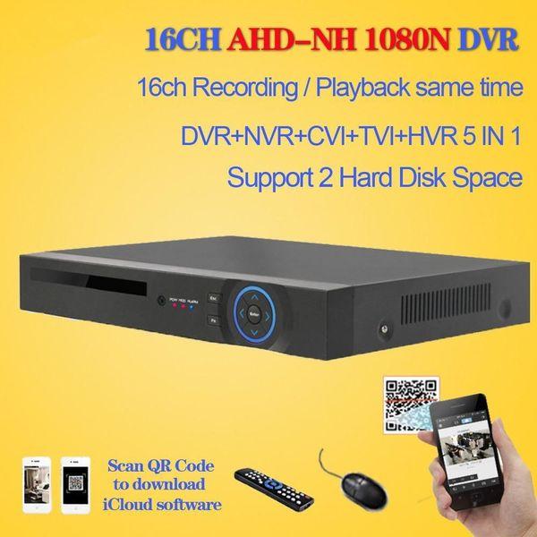 CCTV recorder surveillance 16ch AHD 1080N recording security DVR HDMI 1080P 16 channel DVR NVR video Recorder 2 XHDD Space