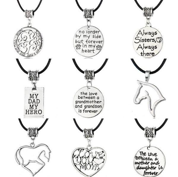 Лучший подарок готический папа мама мода простой семья кожаный кулон ожерелье Рождественский подарок WFN021 (с цепью) заказ смешивания 20 штук много