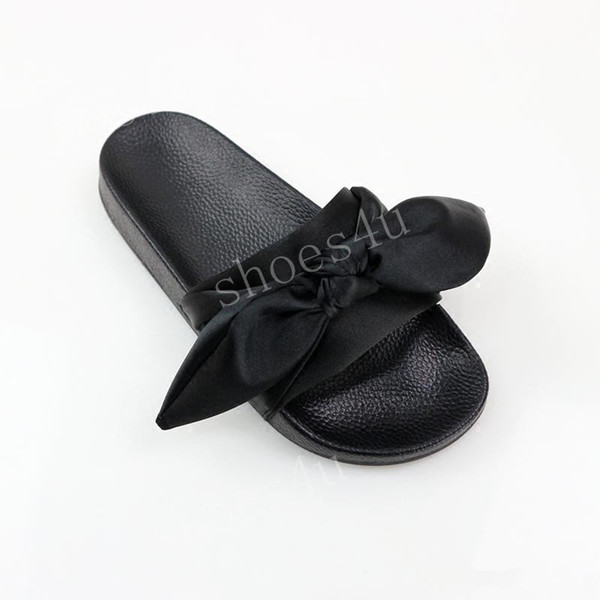 (With Box+Dust Bag) Wholesale Cheap New Rihanna Leadcat X Fenty Bandana Slide Womens Bow Slippers Indoor Ladies Fashion Sandals Size 36-41