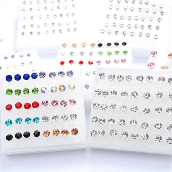 Nuevos pendientes de diamantes pendientes de aros en caja hipoalergénicos (tamaño 2-5MM), caja sold1