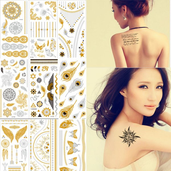 Wholesale- 8 Sheets LOT Tattoo Stickers Body Art Temporary Waterproof Painting Glitter Metal Golden King Crown Lotus Flower Rose Tattoos