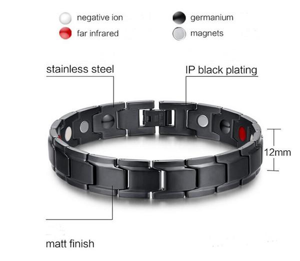 best selling Fashion Health Energy Bracelet Bangle Men Black Jewelry Titanium Stainless Steel Bio Magnetic Bracelet For Man free by dhl