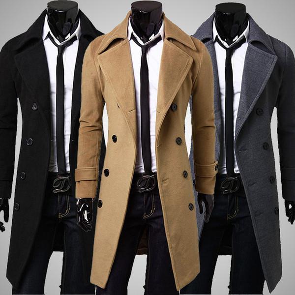 best selling New Brand Winter mens long pea coat Men's wool Coat Turn down Collar Double Breasted men trench coat black brown grey size M-XXXL
