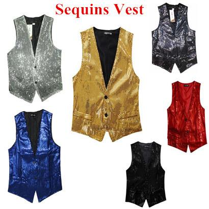 top popular Wholesale- new free shipping New Fashion Leisure Men Vests suits slim Sequins gold red black White gray blue Dj stage 2019