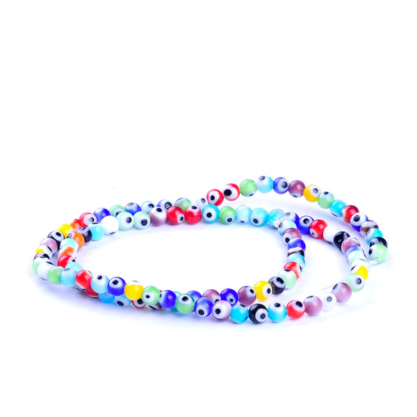 97pcs/string 4mm colors mixed round shape evil eye beads lampwork glazed glass beads for bracelet necklace DIY jewelry making