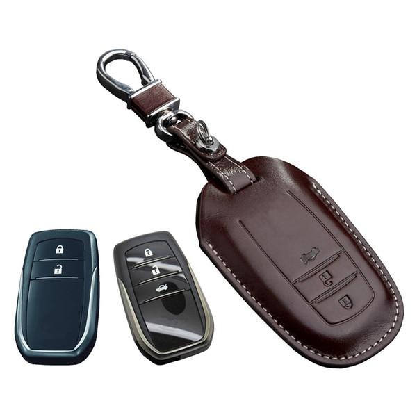 Clé en cuir housse de porte-clés pour 2016 2015 Toyota Camry hybride Cruiser Prado Rav4 Couronne Corolla 2017 accessoires porte-clés chaîne