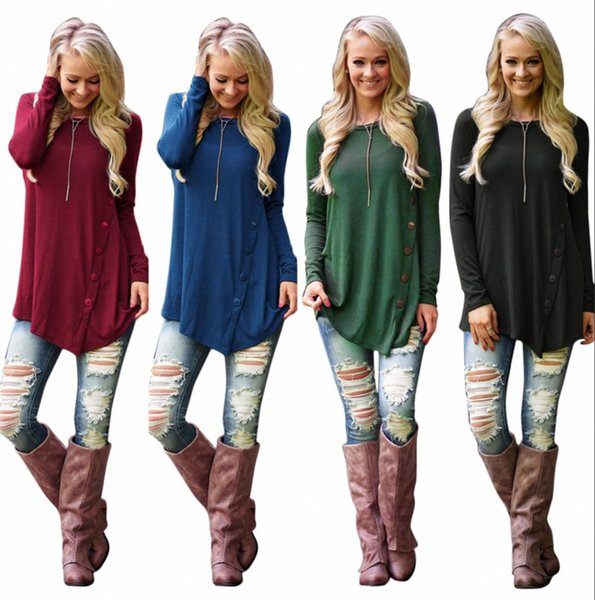 best selling Hot Selling Tops for Women Fashion Casual Zipper Round Neck Blouse Long Sleeve Irregular Dresses Plus Size M L XL QT81013