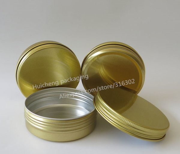 10 x 100g Gold Aluminum Jar 100cc metal jar for cream powder gel use aluminum container
