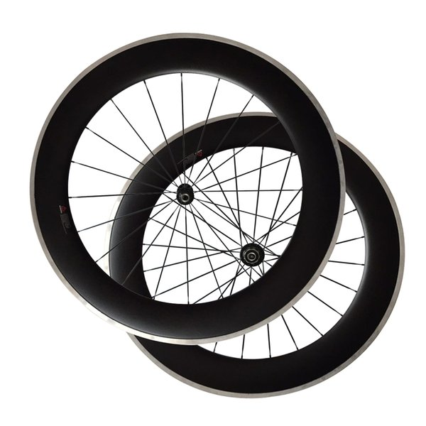 Aluminum alloy surface carbon 80mm clincher wheelset 700C road bike carbon wheels Free Shipping 23mm Width Alloy Wheels