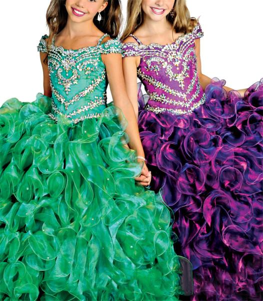 Og Schulter Prinzessin Mädchen Jeweled Ballkleider Blumenmädchen Formale Gelegenheit Kleid gekräuselte Ballkleider große Mädchen Pageant Kleider