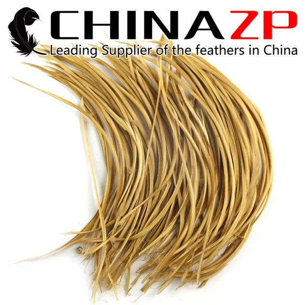 Leading Supplier CHINAZP Crafts Factory 15~20cm(6~8inch) Selected Top Quality Dyed Golden Caramel Goose Biots Feathers for DIY Decorations