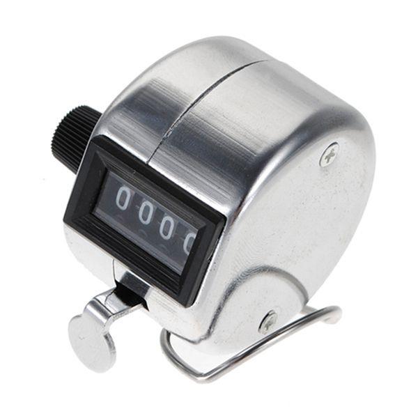 Vendita all'ingrosso- Miglior prezzo in acciaio inossidabile Mini Sport Lap Golf manuale manuale 4 cifre numerate Contatore a mano contatore Clicker Argento