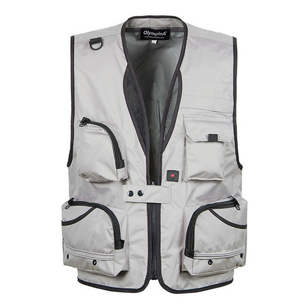 best selling Wholesale- XL-5XL Men's Photography Work Vest V-Neck Multi-Pocket Reporters Director Sleeveless Jacket Outerwear A364