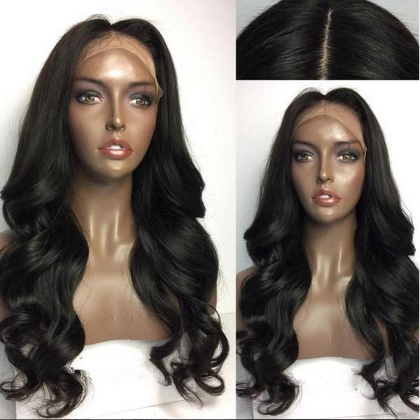 Large Stock Human Hair Full Wigs Black Color 20inch Middle Part Loose Wave Lace Front Wig Free Shipping