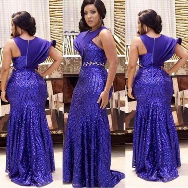New Designer Purple Sequined Evening Dresses Long 2017 Mermaid Short Sleeve Arabic African Style Dinner Dress Plus Size Gowns
