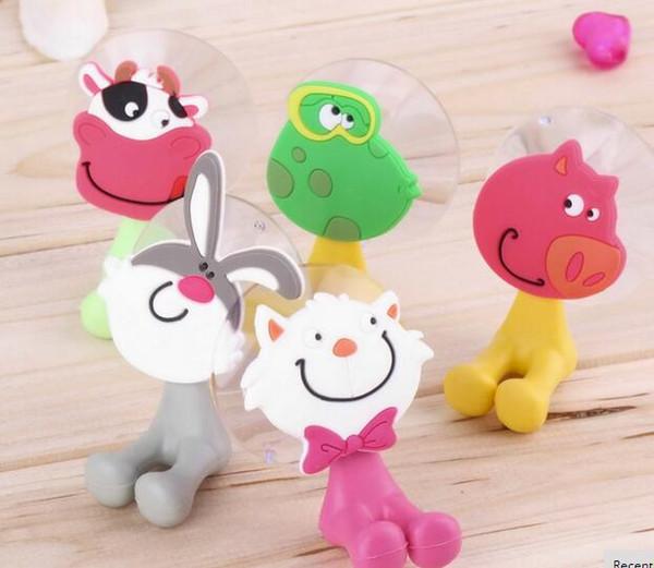 top popular Cute Cartoon sucker toothbrush holder suction hooks bathroom set accessories 2021