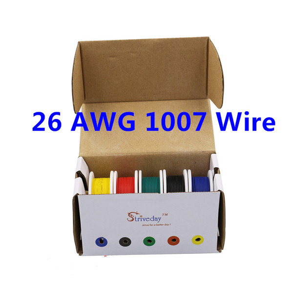 top popular 50m UL 1007 26AWG 5 color Mix box 1 box 2 package Electrical Wire Cable Line Airline Copper PCB Wire 2021