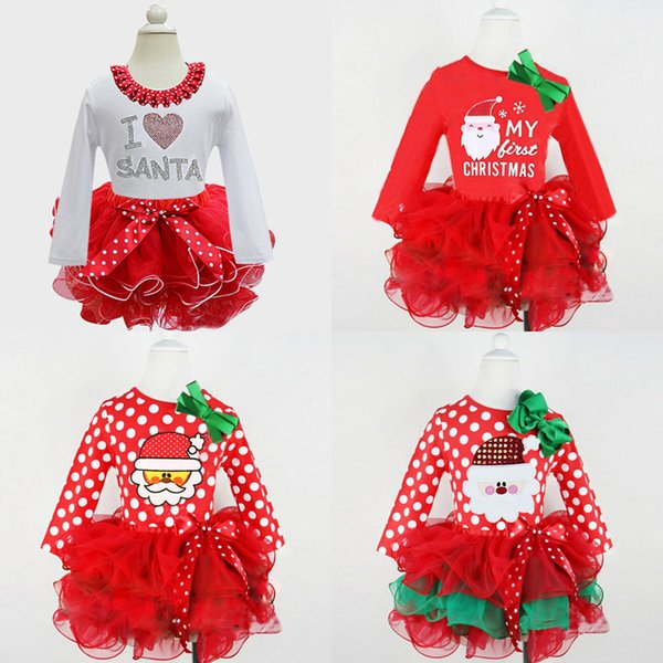 4colors Girls Christmas tutu Dress NEW Year long sleeve dress Kids festival Layered dress Ribbon bowknot Snowman Santa loving heart printing