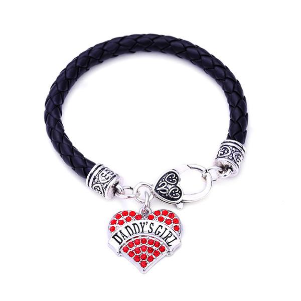 Familiengeschenke DADDY'S MÄDCHEN Herz Leder Armband Kristall Silber Herzen Familienmitglied Hummer Klaue Armbänder