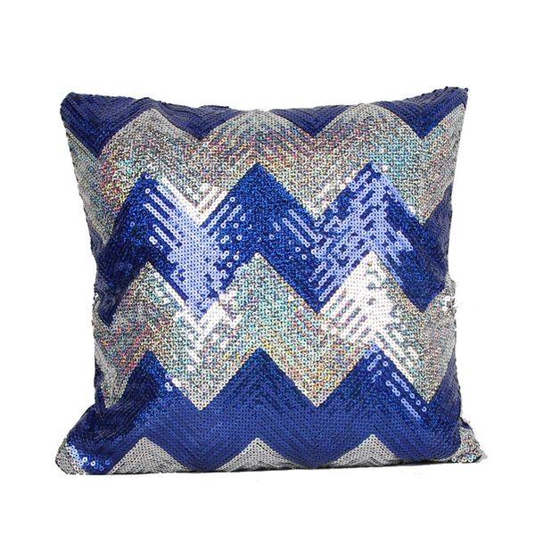 5 Colors Hot Double Colors Wave pattern Sequins Pillow Case Shiny Square Sofa Car Decorations Bright Magic Pillow Cover