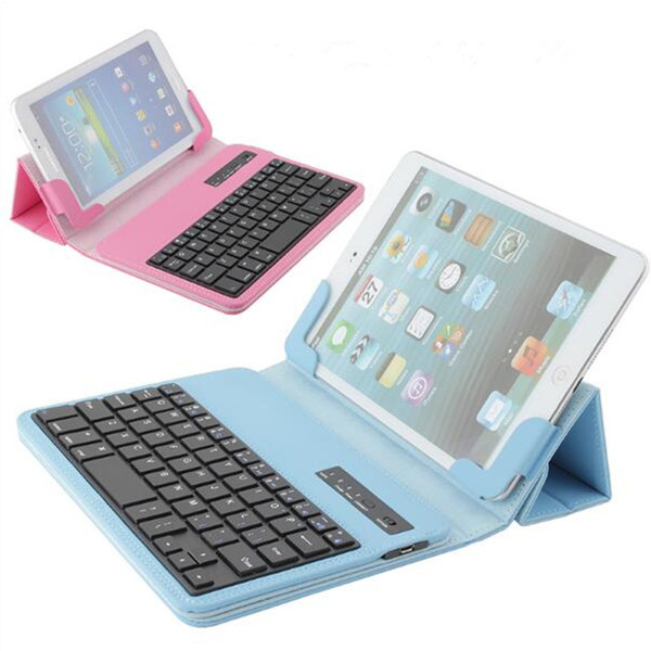 Ultra-Thin Universal PU Leather Wireless Bluetooth Keyboard Cover Case Holder Colorful For Tablet PC For iPad mini 2 3 Samsung N5100 P3100