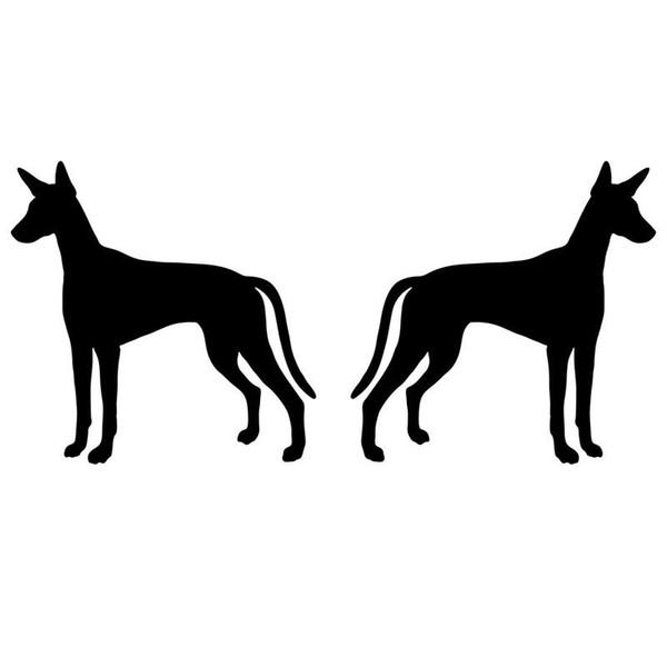 12.7*6CM 1Pair Ibizan Hound Dog (Left & Right) Bumper Car Sticker Animal Vinyl Decals
