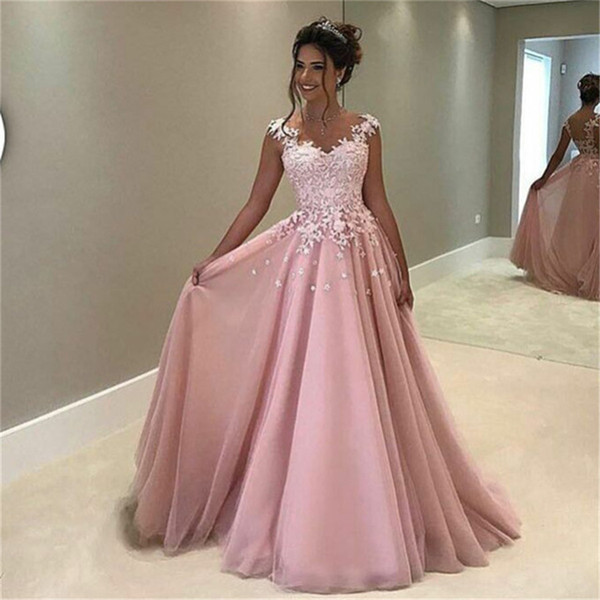 Formal Longo Flowers Appliques Pink A-line Prom Dress Sleeveless Long Evening Dresses Vestido Party Dresses vestido de festa