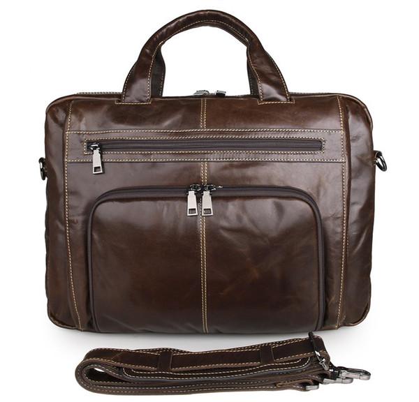 "Mens genuine leather Business Messenger Bag 16"" laptop ShoulderBag European Fashion Style Coffee Color 7310"
