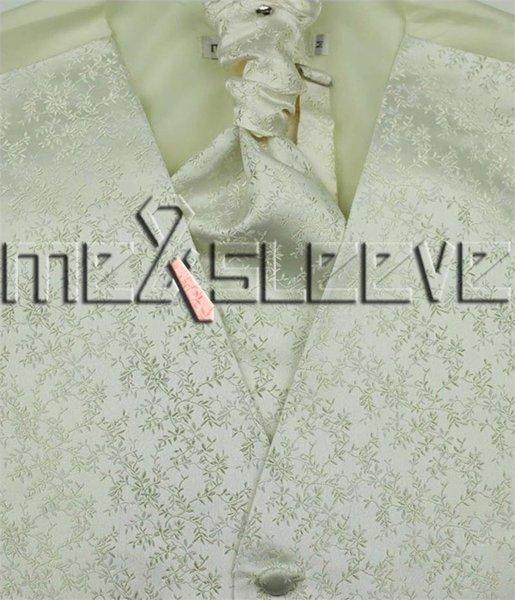 남자 아이보리 잎 Suit Tuxedo Dress Vest ascot tie 손수건 세트