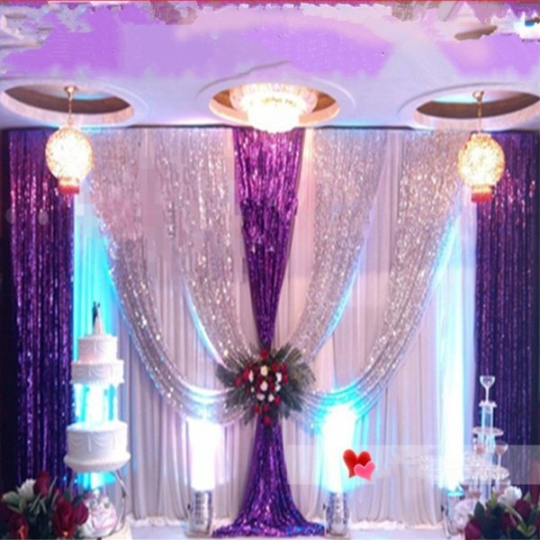 Upscale Sequins Fabric Wedding Backdrop Decoration Gauze Curtain Fashion Table Cloth For Wedding Site Layout Supplies 9 Colors