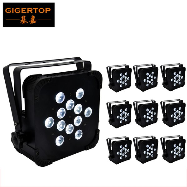 TIPTOP 10x TP-G3045-4IN1 12X12W LED MINI PAR Can Slim Par Light High Power Flat Par64 RGBW 4IN1 Stage Lighting Club Party Lighting Show