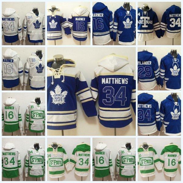 Die Toronto-Ahornblätter der Männer Jerseys # 34 Auston Matthews # 16 Mitch Marner # 29 William Nylander Hoodie Sweater Hockey Jerseys Kostenloser Versand