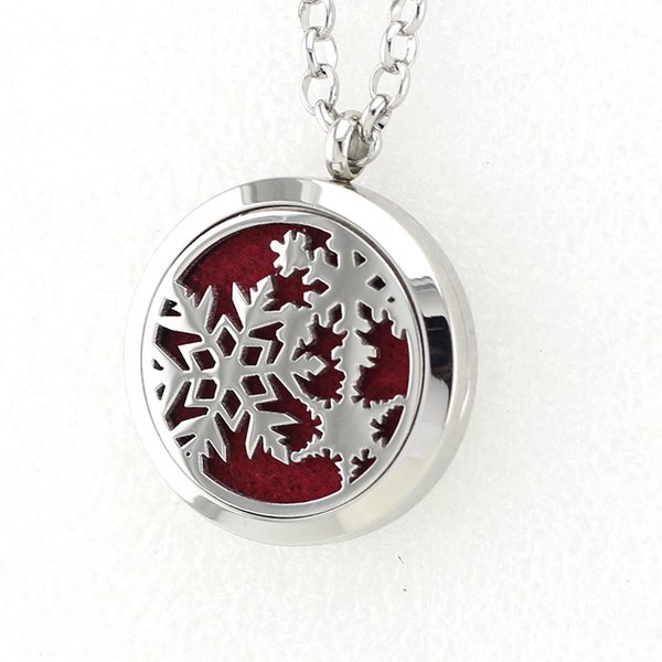 5PCS Silver Magnetic Snowflake Perfume Locket Necklace Pendant 316L Stainless Steel Essential Oil Diffuser Necklace Pendant With Pad Chain