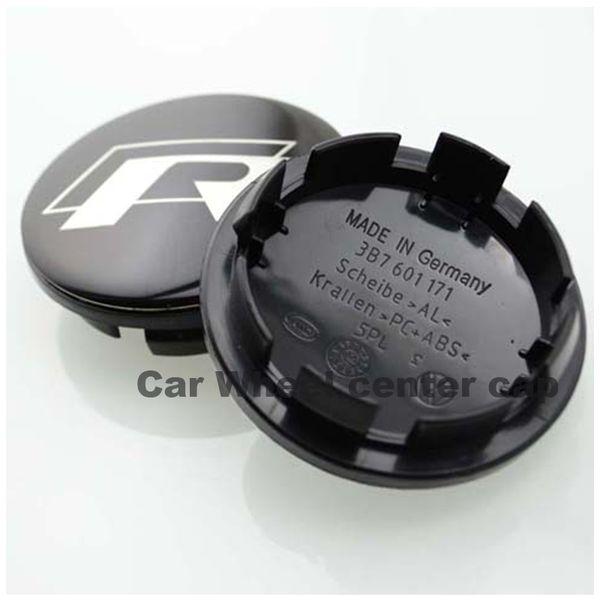Hot selling 4PCS 65mm for vw R Black Alloy Logo Auto Wheel Center Badge for Passat B6 B7 CC Golf Jetta MK5 MK6 Tiguan car wheel center caps