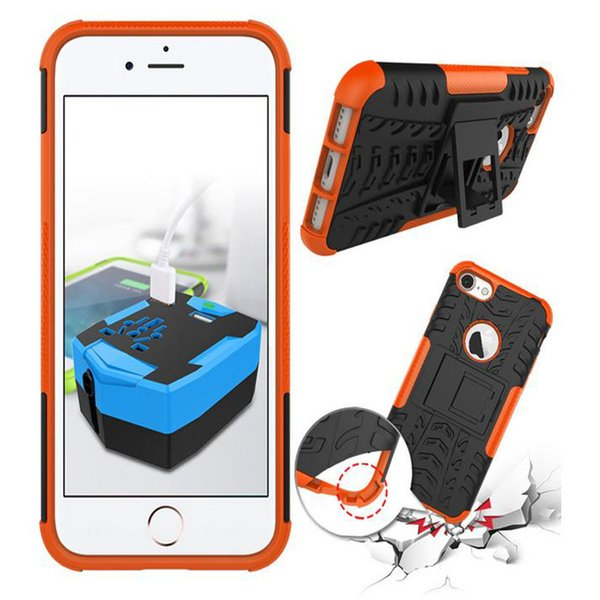 Para Iphone 7 Iphone7 4.7 '' / Plus I7 Armor Rugged Square Hybrid Spider PC duro plástico + TPU suave Funda de silicona Soporte Cubierta de piel a prueba de golpes