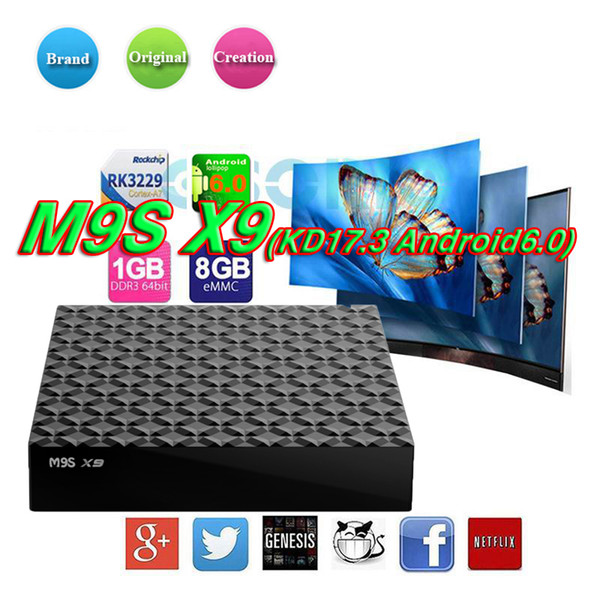 Vente d'usine M9S X9 4K Android 6.0 TV Box RK3229 Quad Core 1 Go 8 Go Set Top Box Smart OTT boîtes