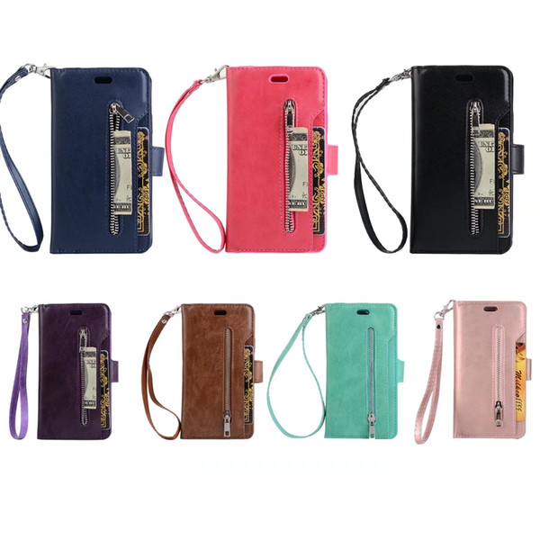 Zip Zipper Wallet Case Cover Pouch multi-functional 9 Card Slot With Stand Holder Portable Strap Clip Case For iphoneX 7plus 6plus 7 6