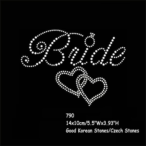 Wedding Bride Iron On Rhinestone Sticker Hotfix Bride With Double Hearts Motif Crystal For T-shirt Sweater 40pcs/lot